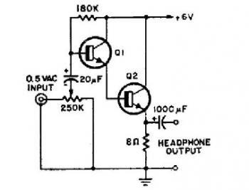 simple 2 transistor headphone amplifier audio circuit. Black Bedroom Furniture Sets. Home Design Ideas