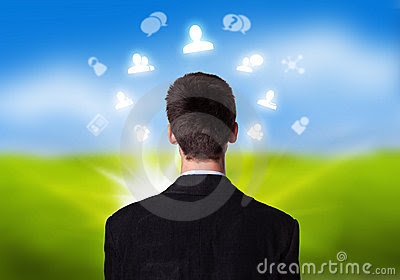 Businessman With Social Network Icons