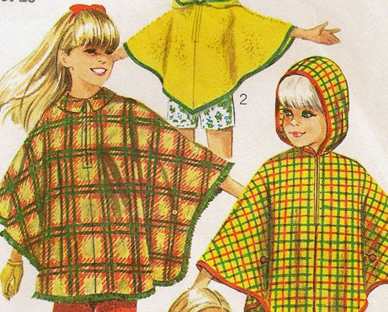 1960s Vintage Girls Capes Cloaks or Ponchos Sewing Pattern by StarvingPackrats, $3.89