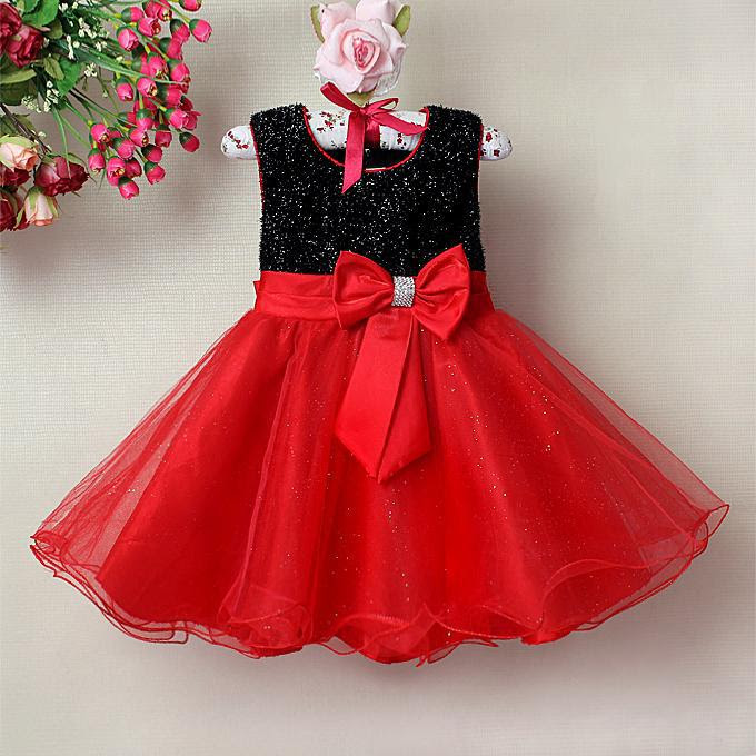 fashion baby girl dresses red and black children party