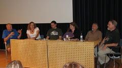 Markku Soikkeli, Cheryl Morgan, Ben Roimola, Farah Mendlesohn, Mike Harrison, and Edward James behind a table discussing