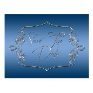 Blue Ornate Silver Save The Date