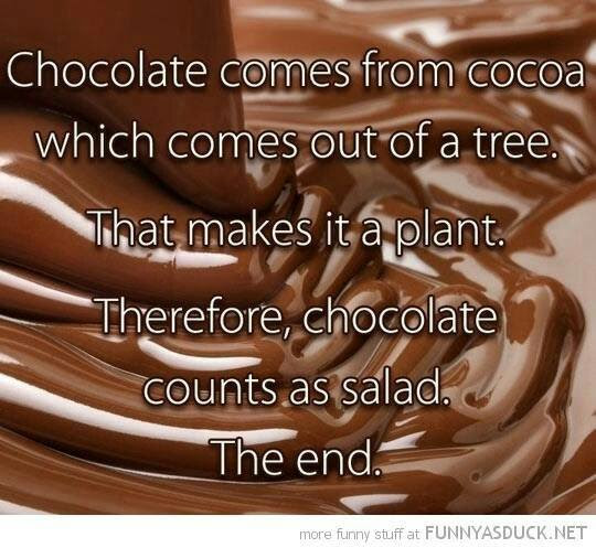 Facebook meme about chocolate comes from cocoa, which comes out of a tree. That makes it a plant. Therefore, chocolate counts as salad. The end. WTF