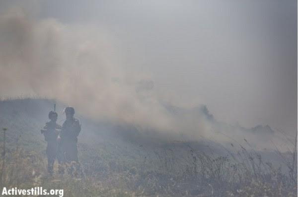 Fields burn during settler attacks. Photo : Activestils