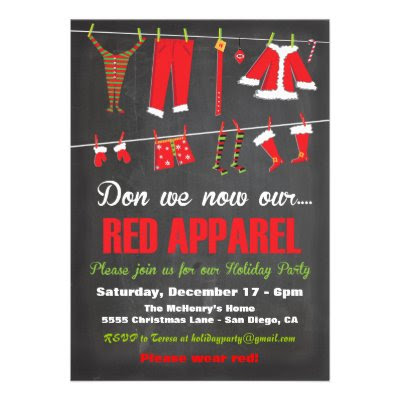 Don We Now Our Red Apparel - Fun Christmas Party Invitation