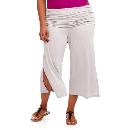 24\/7 Comfort Apparel Women's Elastic-Waist Plus Size Stretch Capri Pants