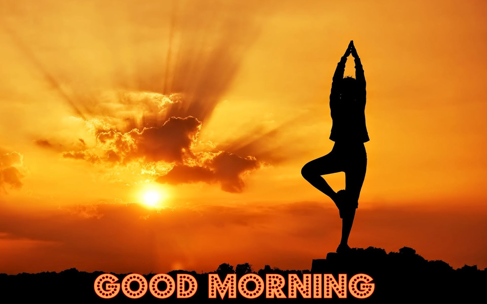 Good Morning Sun Rise View With Yoga Hd Wallpaper 06050