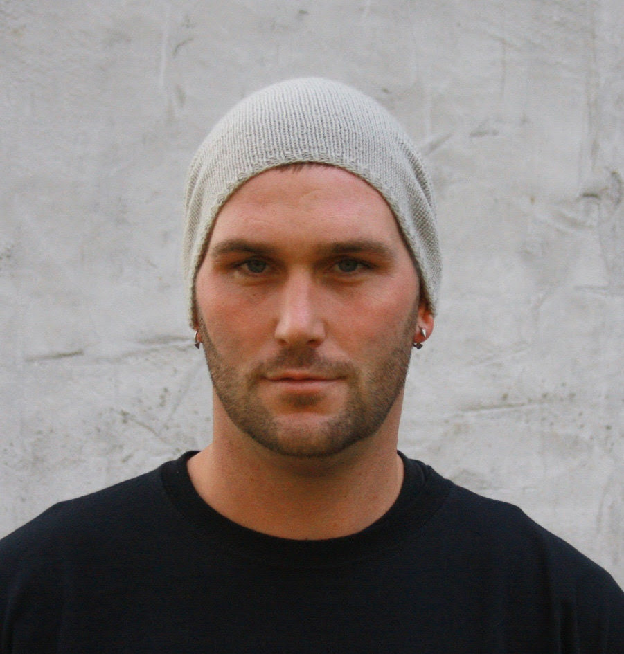 Mens Slouchy Beanie Hat in Lightweight Cashmere Blend CUSTOM ORDER