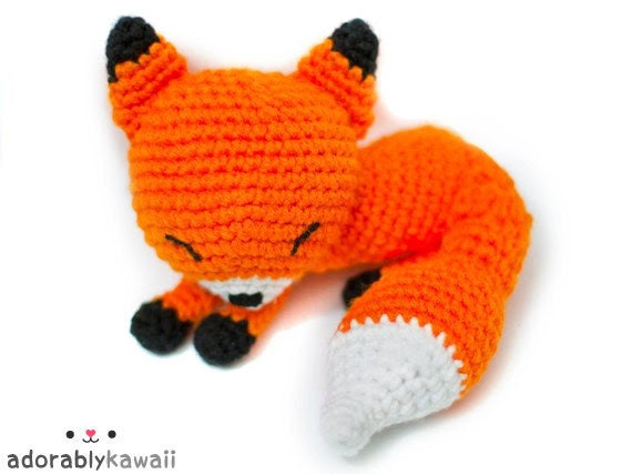 kawaii orange sleepy fox amigurumi plush - MADE TO ORDER