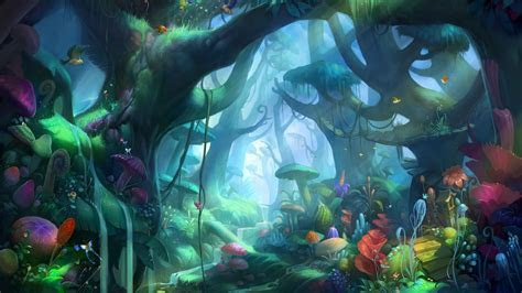 Video games forest digital art concept characters