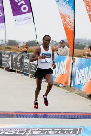 Tesfaye Sendeku heading toward a 3rd place finish in the San Diego Rock and Roll Marathon on June 3, 2012