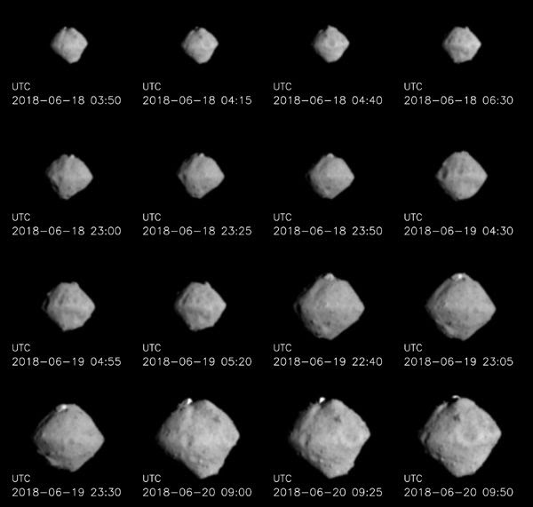Enhanced images of asteroid Ryugu that were taken from distances ranging from 220 to 100 kilometers...by JAXA's Hayabusa 2 spacecraft on June 18-20, 2018 (Japan Time).
