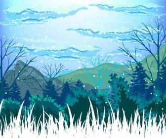 Kış Sahne Açık Karlı Manzara Karikatür Tasarım Boyama Vektör