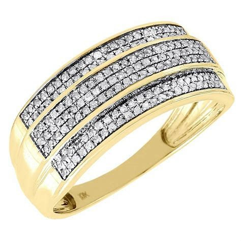 Diamond Wedding Band Men's 10K Yellow Gold 3 Row Round Cut