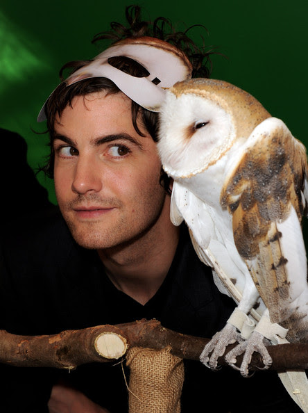 """Jim Sturgess Actor Jim Sturgess poses with an owl at the pre-party for the premiere of """"Legend of The Guardians: The Owls of Ga'Hoole"""" at the Chinese Theater on September 19, 2010 in Los Angeles, California."""
