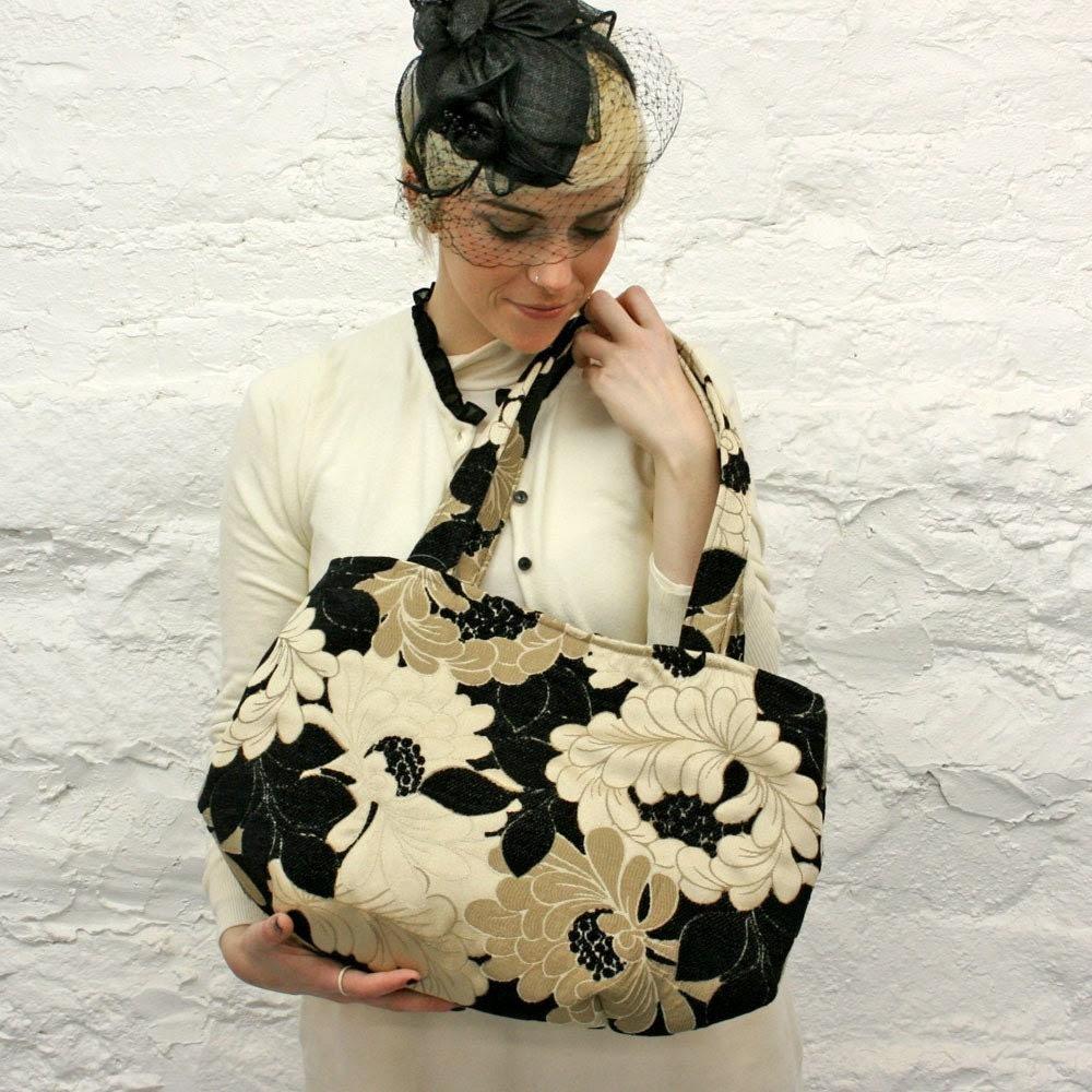 Black Velvet Satin Floral Handbag
