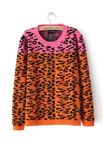 Stylish Leopard Color Block Sweater