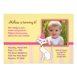 Kitty Cat Photo Birthday Party Invitation