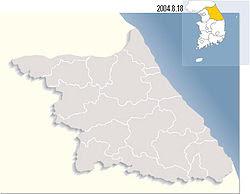Bản đồ Hàn Quốc với đạo được tô đậm.