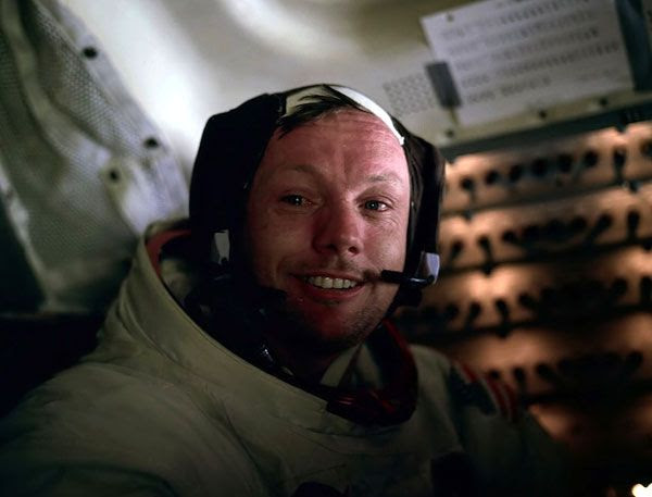 Neil Armstrong (who was born on August 5, 1930) poses for a photo by fellow Apollo 11 crew member Buzz Aldrin inside the Eagle Lunar Module, on July 20, 1969.
