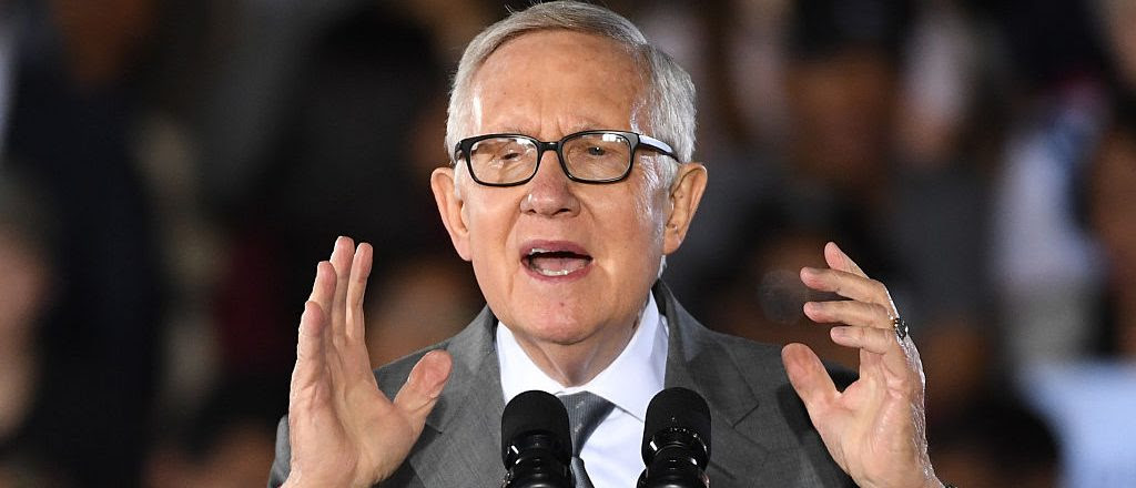 Senate Minority Leader Harry Reid (D-NV) speaks at a campaign rally with President Barack Obama for Democratic presidential nominee Hillary Clinton at Cheyenne High School on October 23, 2016 in North Las Vegas, Nevada. (Photo by Ethan Miller/Getty Images)