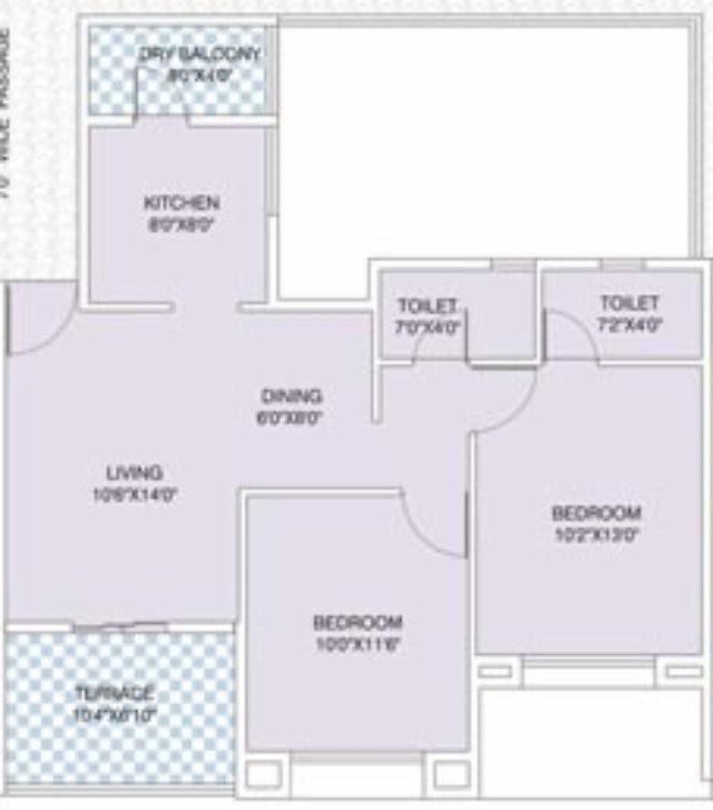 Nirman Viva D 104 - 2 BHK Flat - 631 Carpet + Terrace for Rs. 41,83,475 + 5,000 Misc Charges + ST + VAT