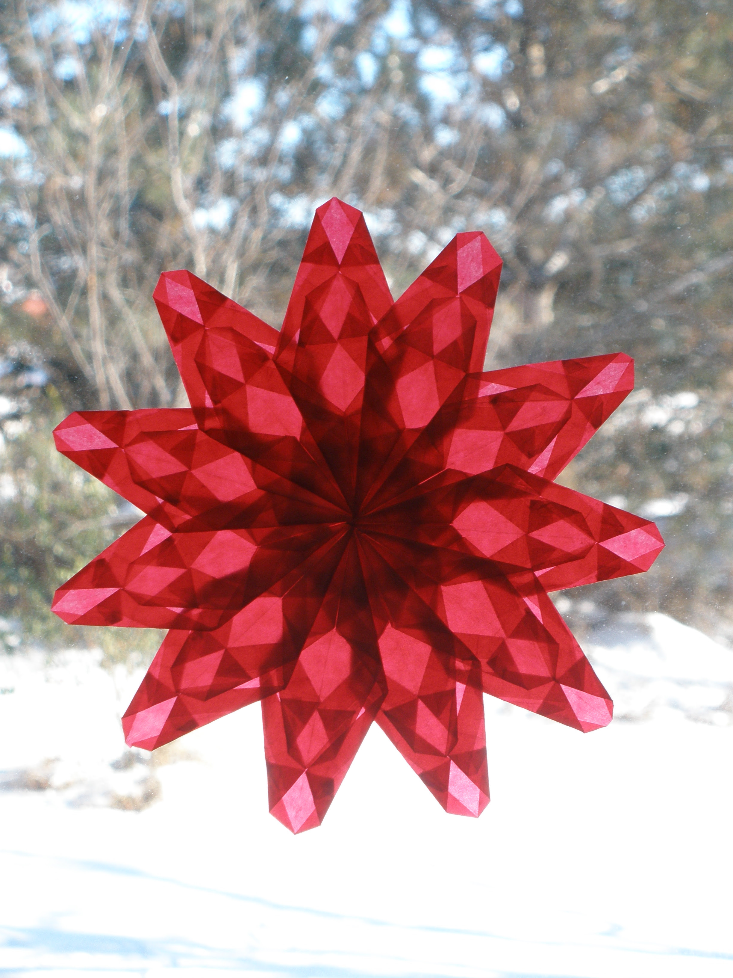 Red Starburst Christmas Window Star (or Early Valentine's Day Decoration)