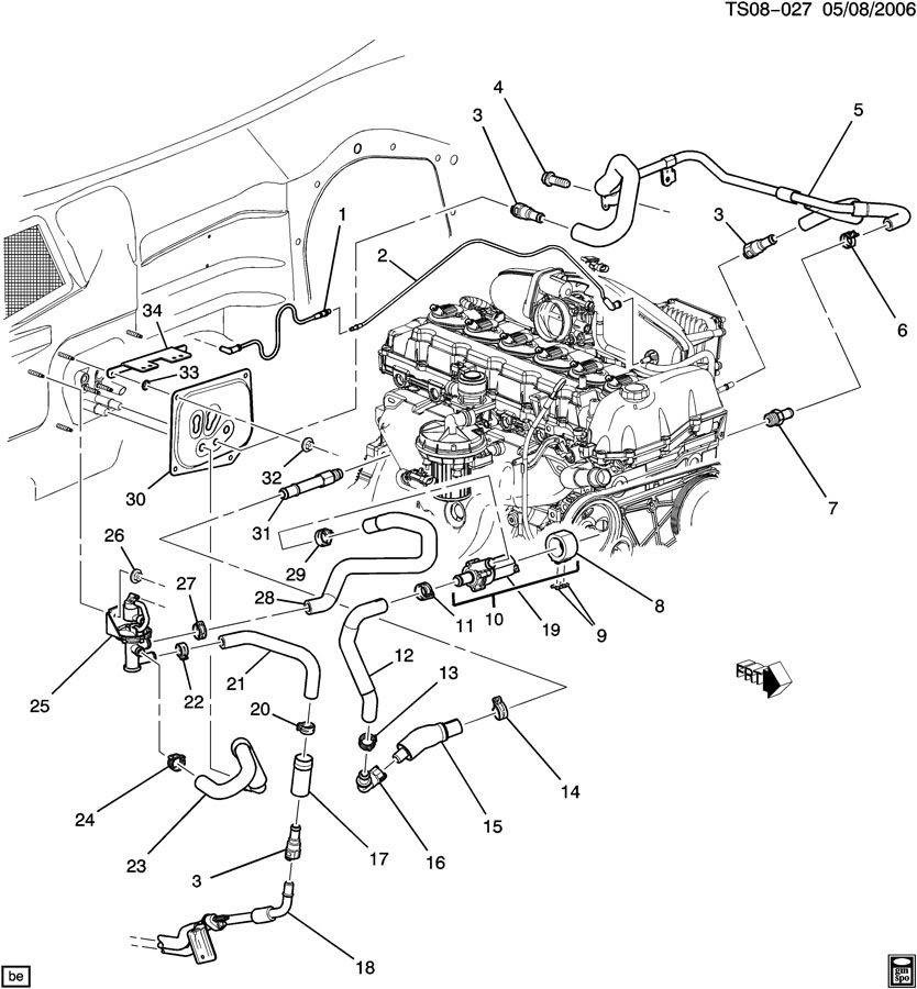 Chevrolet TRAILBLAZER HOSES & PIPES/HEATER PART 1 FRONT