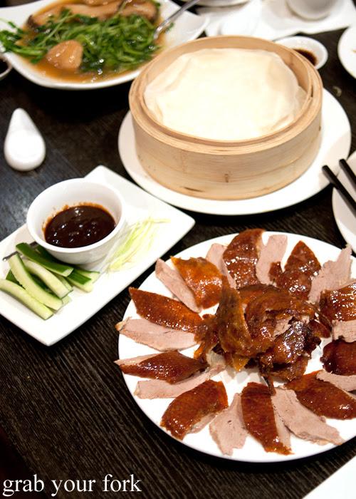 Peking duck with pancakes at Lynn Shanghai Sydney