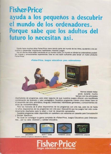 Publicidad Fisher Price juegos Commodore 64