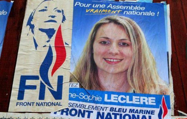 Affiche électorale d'Anne-Sophie Leclère, l'ex-candidate FN aux municipales qui avait comparé Christiane Taubira à un singe, le 18 octobre 2013 à Rethel.