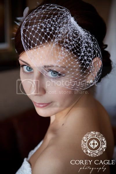 Bride at the Grove Park Inn, Bride with bird cage veil at Grove Park Inn
