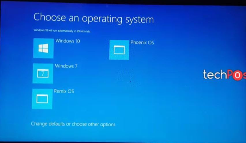 Select OS from the List - Quad boot Android OS on PC