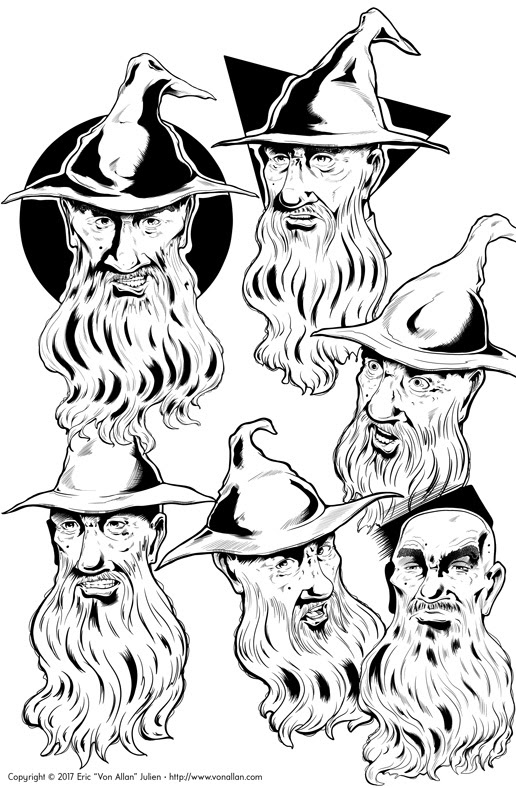 Head Sketches of Bill the Wizard by Von Allan