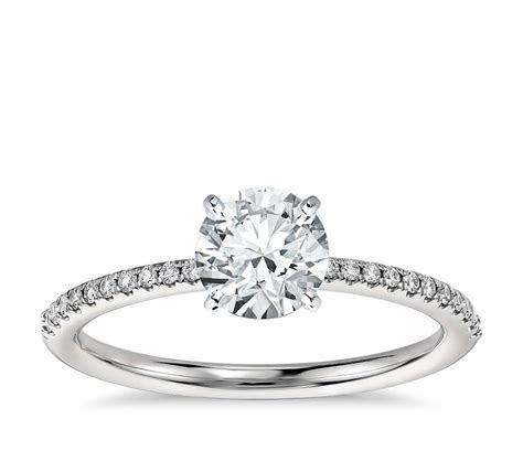 Petite Micropavé Diamond Engagement Ring in Platinum (1/10