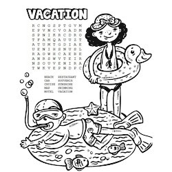 Printable Vacation Word Search & Coloring Page | Fun Family Crafts