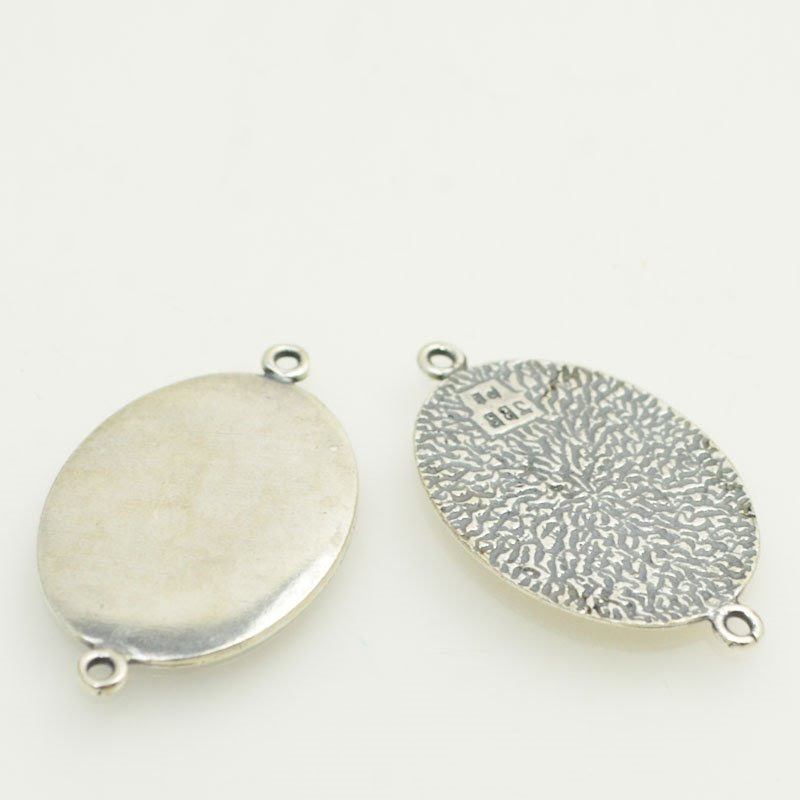 s47809 Metal Blank - 22 x 29 mm Oval Link - Antiqued Silver (2)