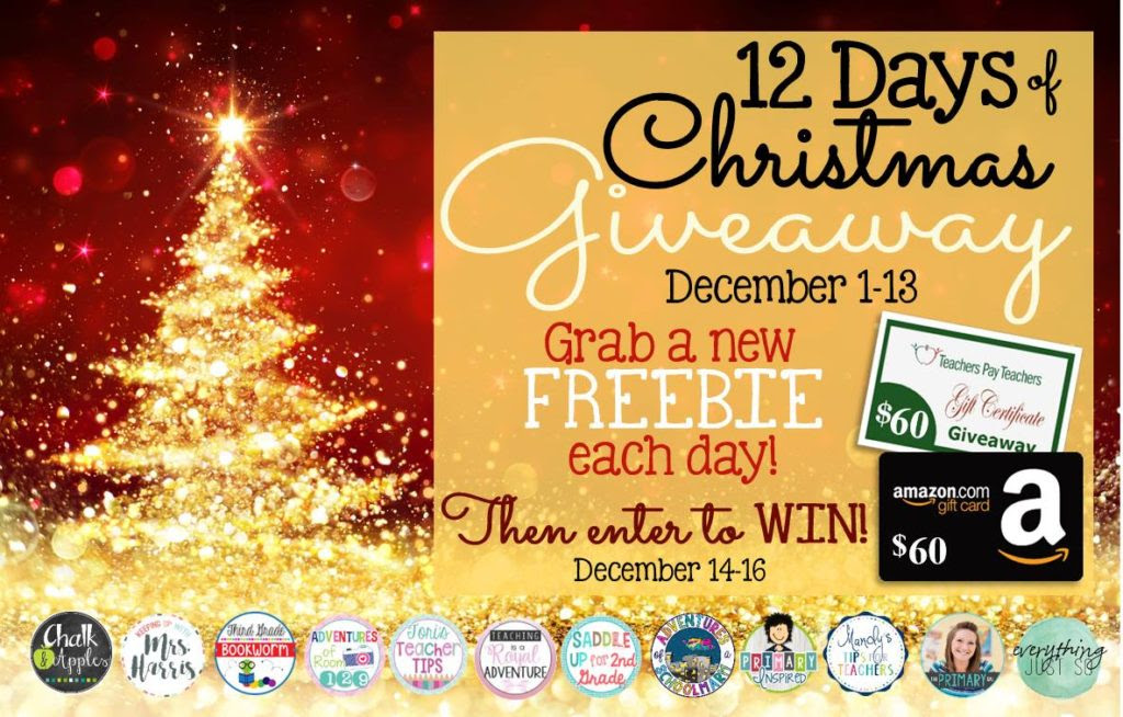 12 Days of Christmas Giveaway - Daily freebies and a fun gift card giveaway!