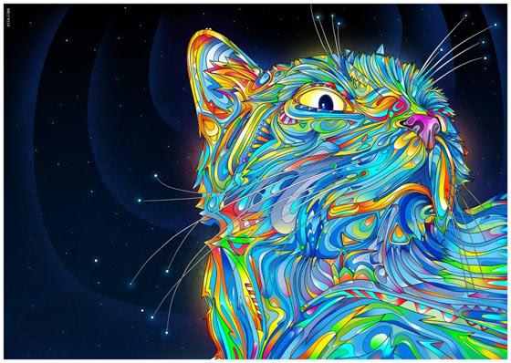 Universo De Colores En Dibujos De Gatos Autos O Cualquier Otro