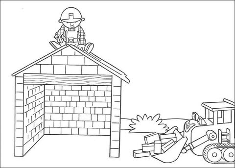 Dibujo De Scoop Ayuda A Bob A Construir La Casa Para Colorear