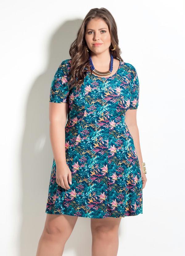Vestido Quintess (Estampa de Folhagens) Plus Size
