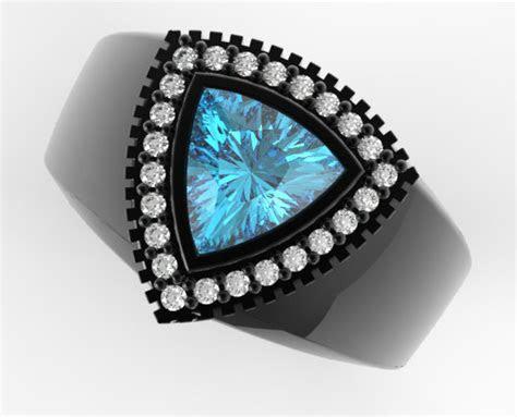 Mens Wedding Band Black Gold 1 Carat Blue Aquamarine