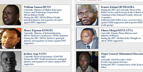 A picture released on December 15, 2010 by the Hague-based International Criminal Court (ICC) shows a combo of the six Kenyans. by Pan-African News Wire File Photos