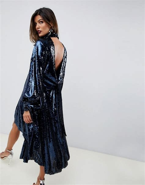 ASOS EDITION drape sequin midi dress with open back   ASOS