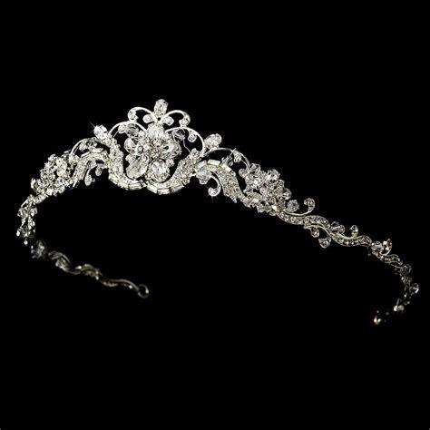 Silver Floral Swarovski Crystal Rhinestone Bridal Wedding