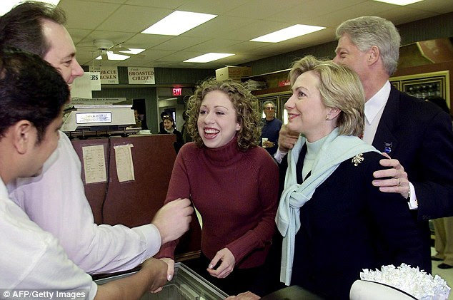 Chelsea, Hillary and Bill Clinton are regular visitors to the deli, seen here in 2000