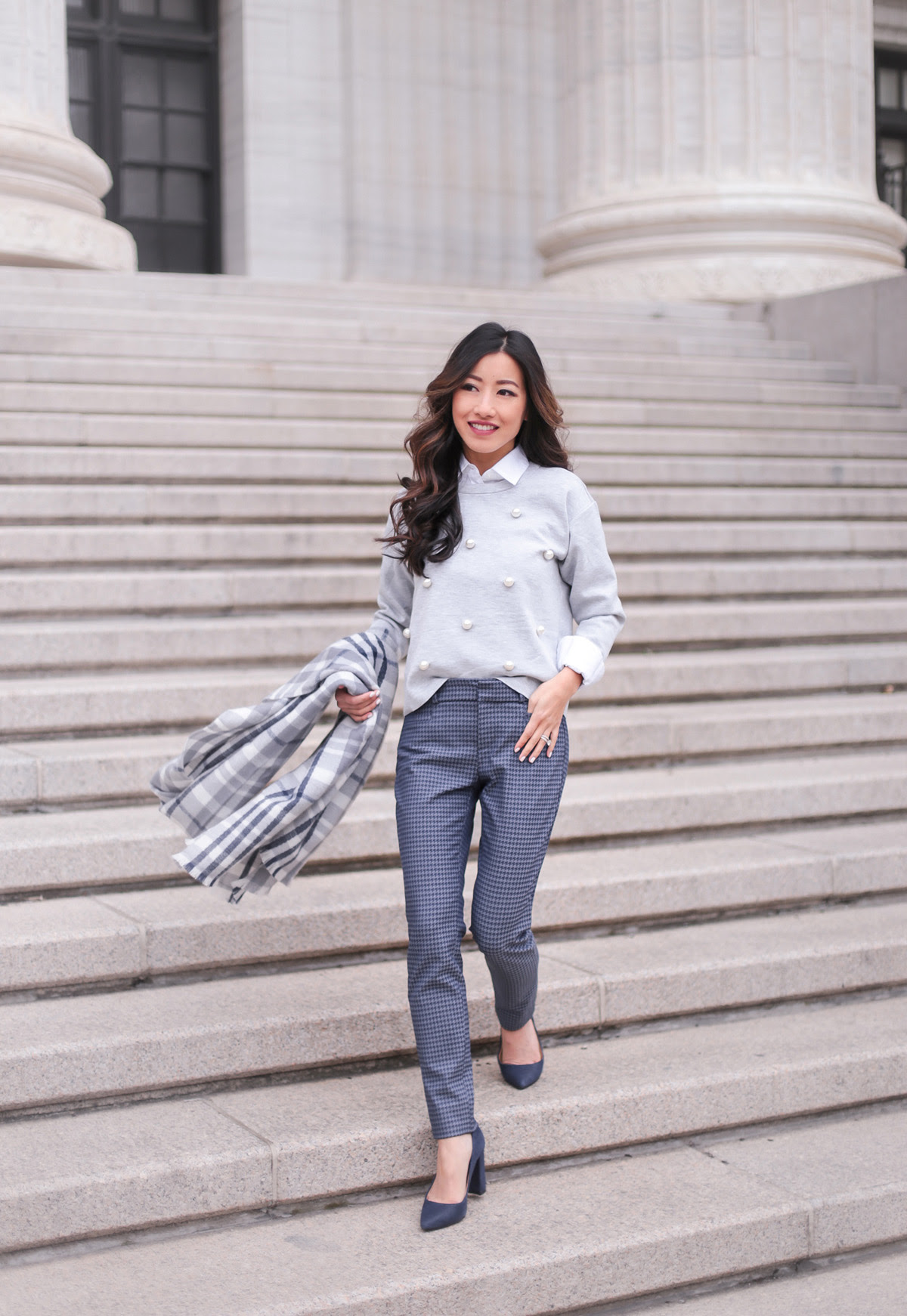 how to layer  banana republic petite winter work outfit