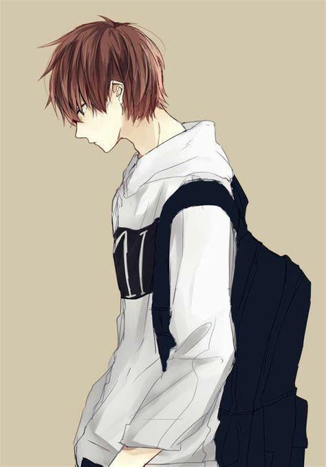 anime guy sweatshirt hoodie brown hair backpack