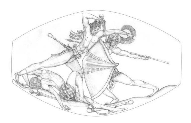 Καλλιγραφική απεικόνιση της παράστασης του σφραγιδόλιθου