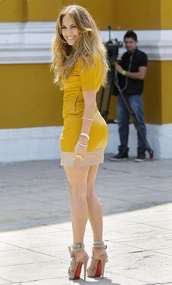 A cantora e atriz Jennifer Lopez em visita ao Peru no último sábado